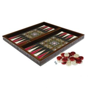 THT Marble Design Leather Edge 19 inches Turkish Backgammon Sets