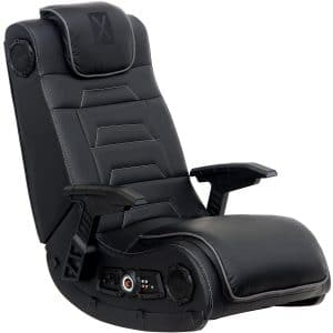 X Rocker Pro Series H3 Black Leather Vibrating Floor Video Gaming Chair with Headrest for Adult, Teen, and Kid Gamers - 4.1 High Tech Audio and Wireless Capacity