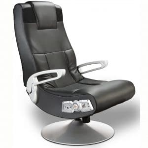 X Rocker SE 2.1 Black Leather Video Gaming Chair for Adult, Teen, and Kid Gamers with Pedestal Base, Armrest, and Headrest - High Tech Audio and Wireless Capacity
