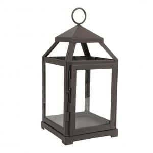 Hosley 12 Inch High Clear Glass and Iron Classic Style Lantern