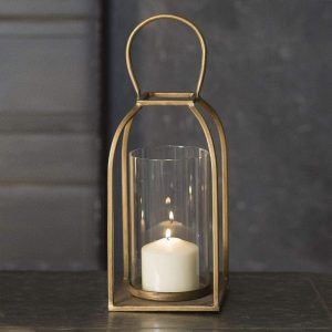 CTW Home Collection Antique Brass Metal Lantern Candle Holder