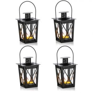 Nuptio 4 Pcs Vintage Black Metal Mini Decorative Candle Lanterns