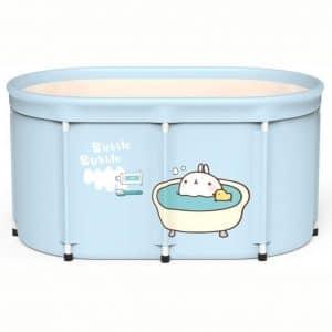 Foldable Bathtub Portable Soaking Bath Tub,Eco-Friendly Bathing Tub for Shower Stall, Adult Foldable Tub (Bubble,Bathtub+lid)