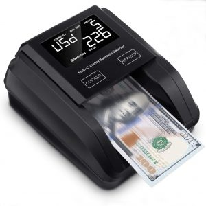 MUNBYN Portable Counterfeit Bill Detector Machine, Value Counting, 4 Orientation, Ultra-Compact, UV MG IR Detection, Multi Currency, Rechargeable Counterfeits Money Detector for Cashier, Driver