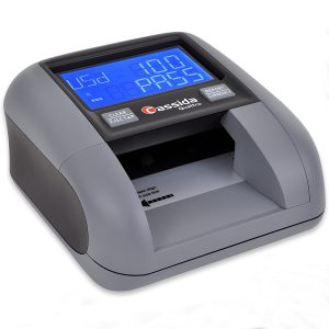 Cassida Quattro Fast Automatic Currency Counterfeit Detector with Advanced Sensors (UV,MG,IR,MT,WT,Thickness,Size) - All-Orientation Feeding - Rechargeable Battery