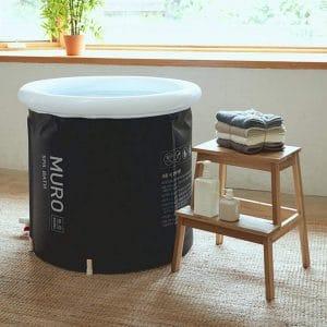 MURO Bathtub for Adults, Foldable Freestanding Spa Bathtub for Soaking in Shower Stall, 3 Layer for Insulation, Black, Includes Bonus Cushion