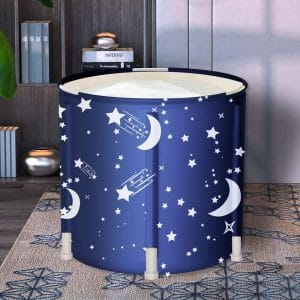 LUCKUP Bathtub, Foldable Free Standing Soaking Bath Tub Easy to Install, Eco-Friendly Bathtub Bathroom Spa,Thickening with Thermal Foam to Keep Temperature,Blue