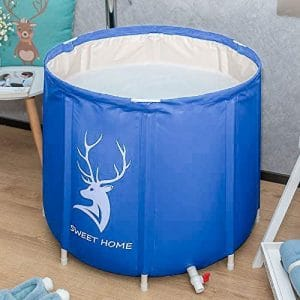 KELIXU, Foldable Soaking Bathing Tub for Freestanding Shower Stall, Thickened Thermal Foam to Keep Temperature for Spa Hot Ice bath, Blue