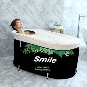 Foldable Bathtub Soaking Bath Tub,Eco-Friendly Bathing Tub for Shower Stall (Green Leaf)