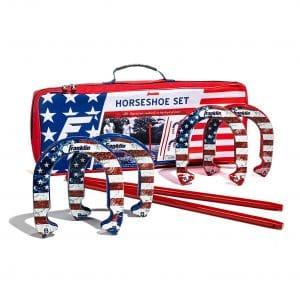 Franklin Sports 2 Stakes and 4 Horseshoes Set - Classic Outdoor Game