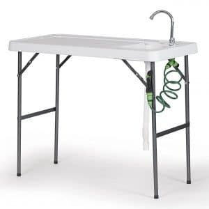 """Old Cedar Outfitters Fish Fillet and Cleaning Table or Portable Folding Gardening Table with Sink, Drain, Faucet and Spray Cleaner, 45.1"""" x 23.2"""" x 37.2"""", White,deluxe"""