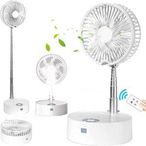 Portable Fan Folding Misting Fan, Taipow Oscillating Standing Fan USB Rechargeable Small Fan with Lights and Remote Control with 4 Speed Humidifying Spray Fan
