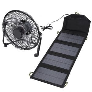 Solar Panel Fan,7W 5.5V Outdoor Portable Camping Fan USB Cooling Fan Solar Folding Bag Phone Charger for Travel Camping Fishing