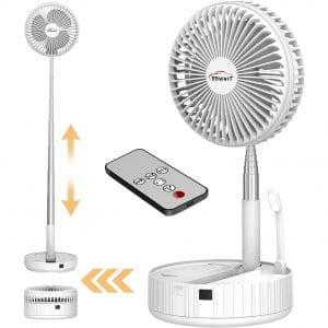 DDVIVIT Foldaway Desk Fan, Portable Telescopic Floor USB Desk Fan with Remote Control, 4 Speeds Adjustable built-in 7200 mAh battery with timer night light