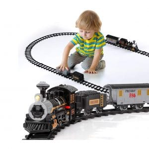 Lucky Doug Electric Train Set for kids 4 Cars and 10 Tracks