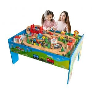 FUNPENNY Train Table Toys Set Wooden Train Track