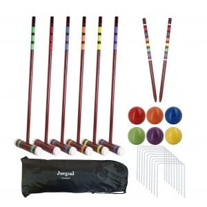 Juegoal Six Player Adults and Kids Deluxe Croquet Set, 28 Inch