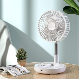 Quincebaby Table Desk Smart Fan with Mobile Phone Wireless Charging, Portable Outdoor Travel Rechargeable Fan with 4 Speeds & Colorful LED Lights