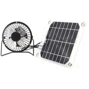 Solar Camping Fan 5W 4 inch free energy for Greenhouse motorhome House Chicken House outdoor Home cooling chicken coop by Seddex