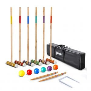 IPOW 32 Inch Croquet Set with Colored Wooden Balls and Premium Hardwood Mallets