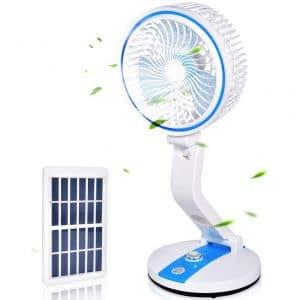USB Desk Fan, Adjustable Speed Fan with Night Light, Personal Small Desktop Table Quiet USB Fan, Rechargeable Battery USB & Solar Powered