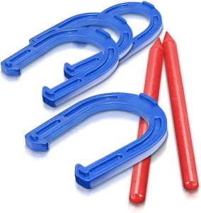 Gamie Durable Plastic Horseshoes Tossing Game for Party, Camping