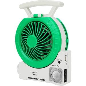 Multi-function Solar Fan Electric Outdoor Fishing Fan with Radio MP3 Table Lamp Torch Cell Phone Charging Function for Camping Fishing and Hurricane Emergency