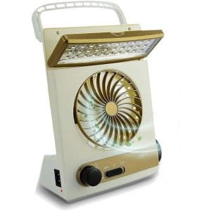 Ansee Solar Fan Camping Fan Cooling Table Fans 3 in 1 Multi-Function with Eye-Care LED Table Lamp Flashlight Torch Solar Panel Adaptor Plug for Home Use Camping