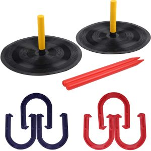 PikDos Outdoor Backyard Kids and Adult Horse Shoes Games Set