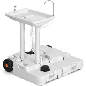 YITAHOME Portable Sink Camping 30L with Rolling Wheels,Hand Washing Station with 30L Sewage Tank,Rolling Wheels, Soap Dispenser, Towel Holder, Ideal for Outdoor,Travel, RV, Boat, Camper