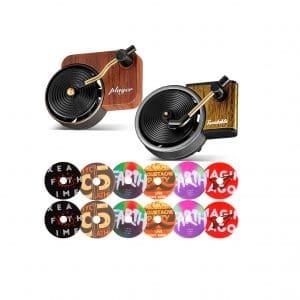 Frienda 2 Pieces Car Retro Record Player Fragrance Diffuser 12 Pieces Aromatherapy Tablets