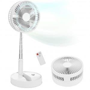 """Portable Standing Fan with Remote Controller, 7.5"""" Foldable Desk Fan, 7200mah & USB Quiet Fan, Mini Foldaway Floor Fan, Telescopic Pedestal Fans"""