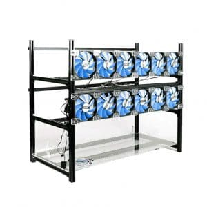 RXFSP 14 GPU Open Aluminum Air Miner Frame Mining Rig with 12 Fans