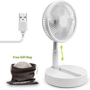 """Battery Operated Fan, Foldaway Rechargeable Standing Fan 8"""" with 39'' Max Height Telescopic Link 3 Speed Settings for Home, Kitchen, Beach, Camping"""