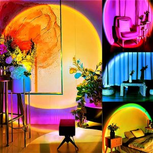 Naswei Sunset Lamp Color Changing 16 RGB 360 Degrees Light with Music