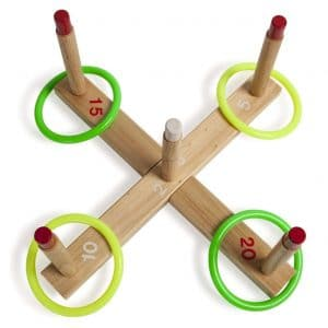 Champion Sports QS1 Classic Wooden Ring Toss Game